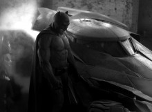 Ben Affleck as Batman with the Batmobile