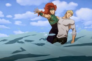 Mera holding her beloved Aquaman (Arthur) in 'Justice League: Throne of Atlantis.'