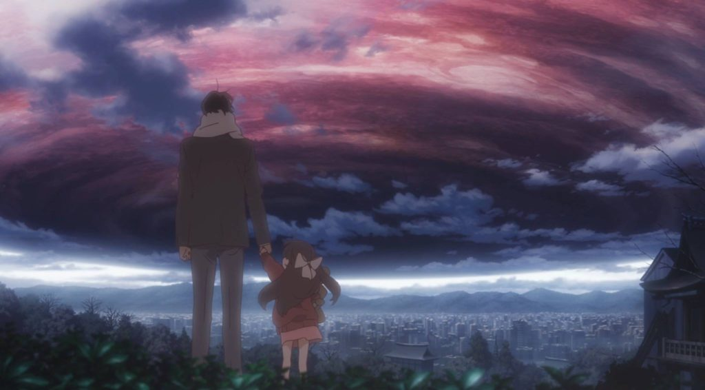Rin and her father gazing at the sky before forces from outer space make contact with the Earth. From Shelter the Animation. Courtesy of Porter Robinson.