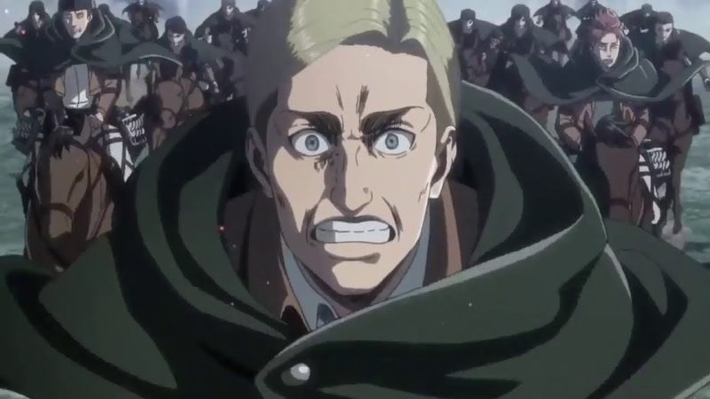 In the most epic scene in Attack On Titan, Erwin Smith led the Survey Corp to a suicide charge. Photo: Wit Studio