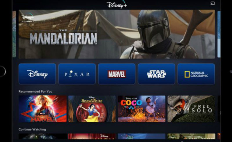 Disney+ home screen at launch