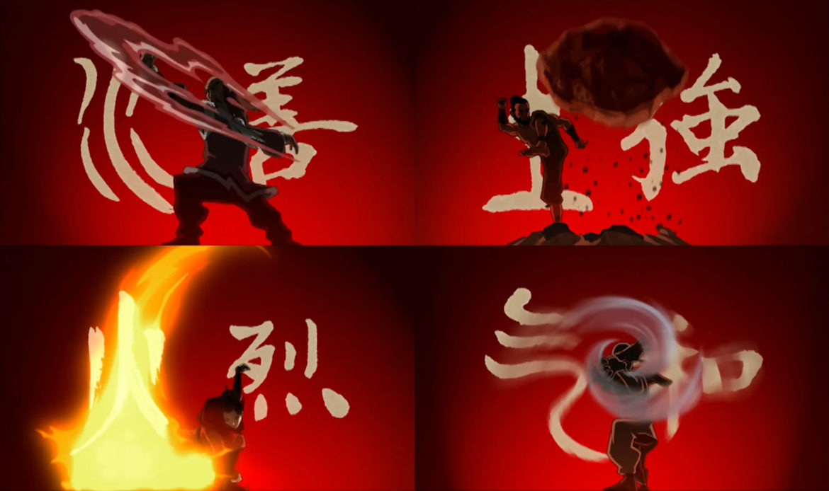 The four elemental bending arts are based on the four classical elements, water, earth, fire, and air, each being manipulated through certain martial art styles. Photo: Nickelodeon