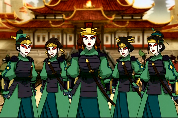 Aang, Katara and Sokka are apprehended by the Kyoshi Warriors, a group of female warriors. Photo: Nickelodeon/Avatar: The Last Airbender