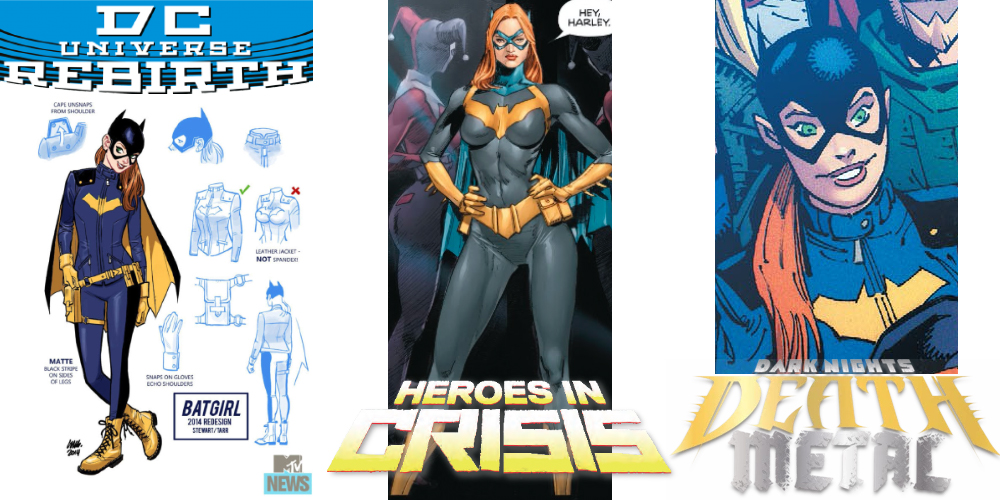 A look at Barbara Gordon/Batgirl over the recent years of the DC Universe... DC Rebirth was a 2016 relaunch. Heroes in Crisis was published from 2018 to 2019. Dark Nights: Death Metal began in 2020. Photo: DC Comics