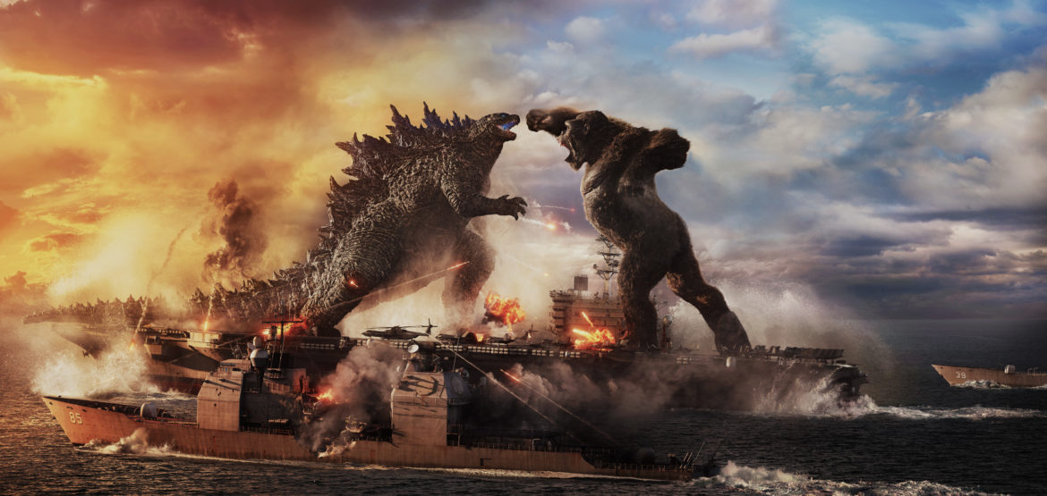 """GODZILLA battles KONG in Warner Bros. Pictures' and Legendary Pictures' action adventure """"GODZILLA VS. KONG,"""" a Warner Bros. Pictures and Legendary Pictures release."""